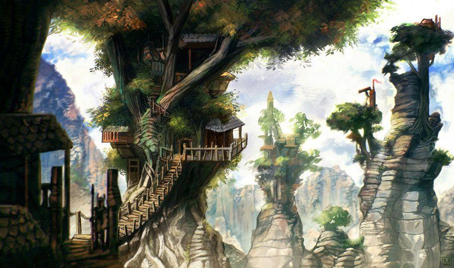 Treehouse village by carloscara.deviantart.com on @DeviantArt