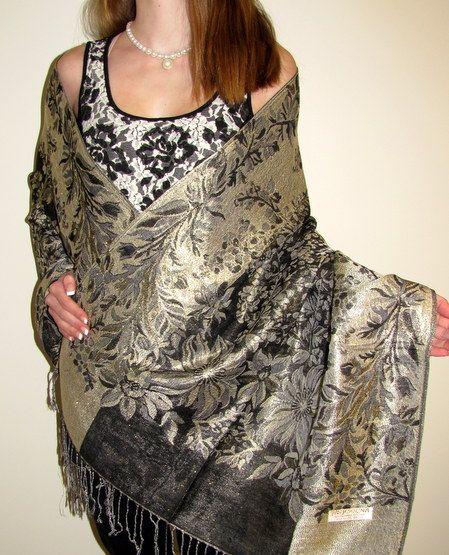Shiny dressy formal shawls Pashminas for evening wear. A