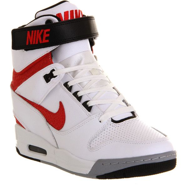 Nike Air Revolution Sky Hi ($100) ❤ liked on Polyvore featuring shoes,  sneakers · White Wedge ShoesHidden ...