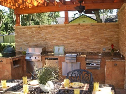 Summer kitchen bbq p tios e varandas pinterest for Outdoor summer kitchen designs