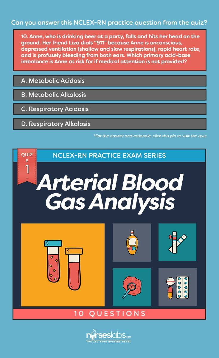 Quiz arterial blood gas abg analysis nclex practice exam questions nursing pinterest acid base balance and also rh in