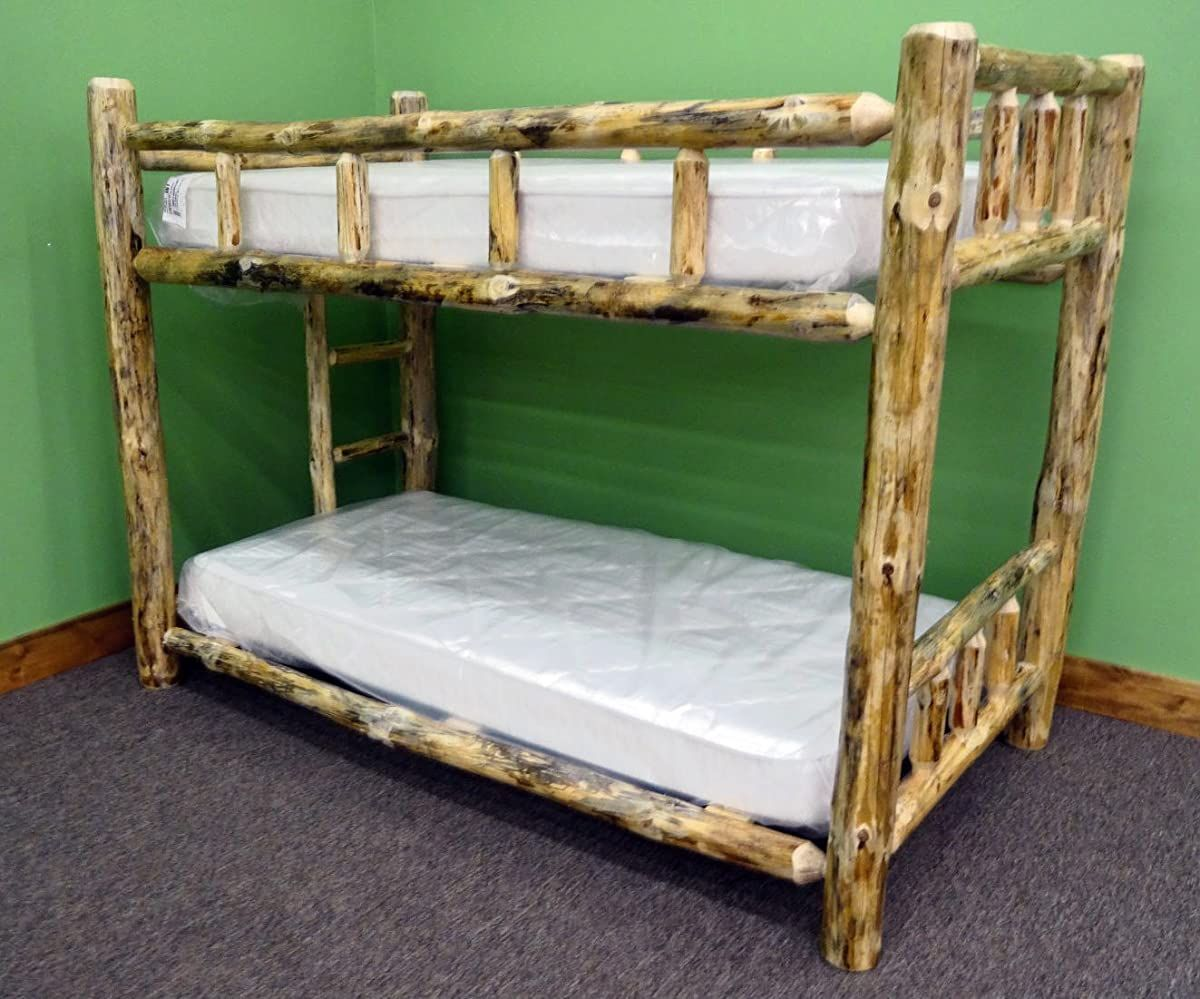 Midwest Log Furniture Rustic Log Bunkbed Twin Over