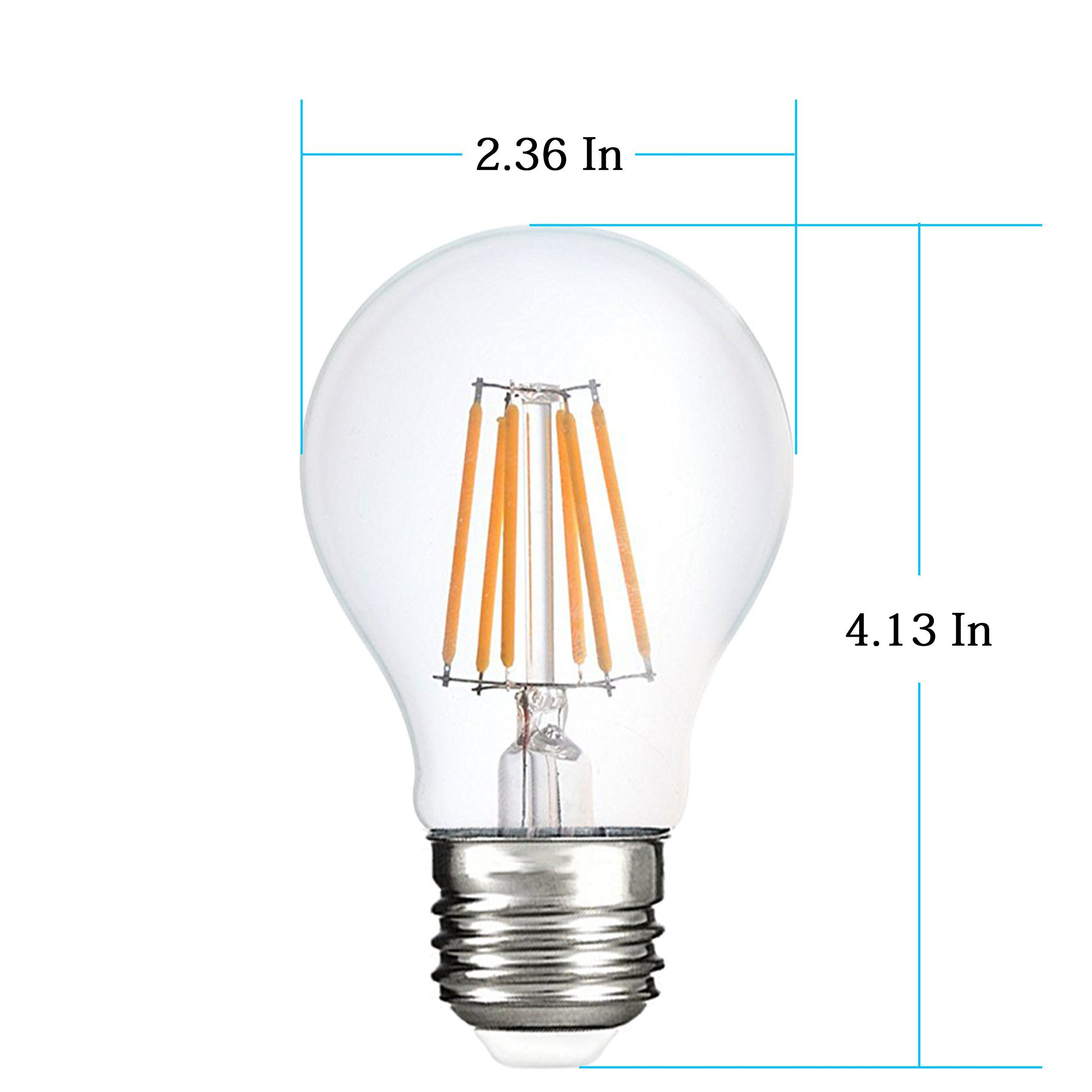 Dimmable Led A19 Bulb 75 Watt Incandescent Bulb Replace 7 5 Watt Led Filament Light Bulbs 4000k Natural White Medium Base E26 Fil Light Bulb Filament Bulb Bulb