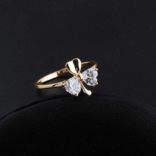 Gold Plated Elegant Four Leaf Clover 18K Real Gold Plated Wedding Ring E-shine