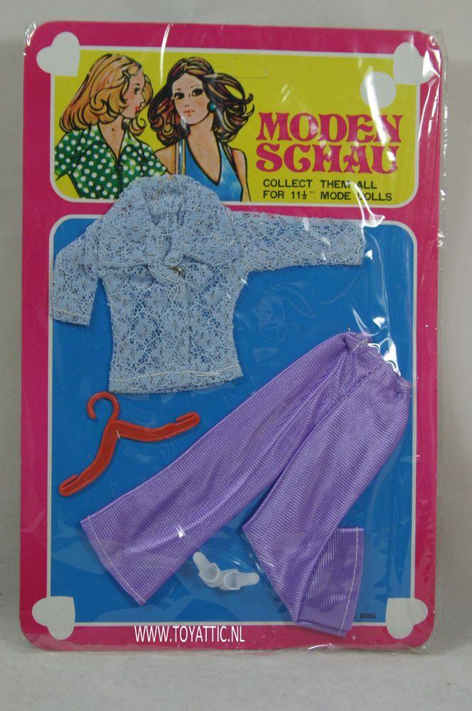 Barbie sized fashion Moden Schau clone fashion purple trousers and blouse NRFB
