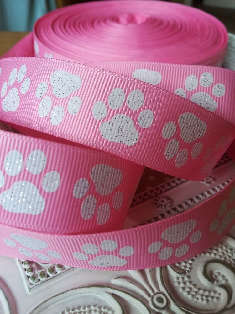 22mm Glitter Paw Print Pink Grosgrain Ribbon Dog Bow Gift Wrap Craft Art