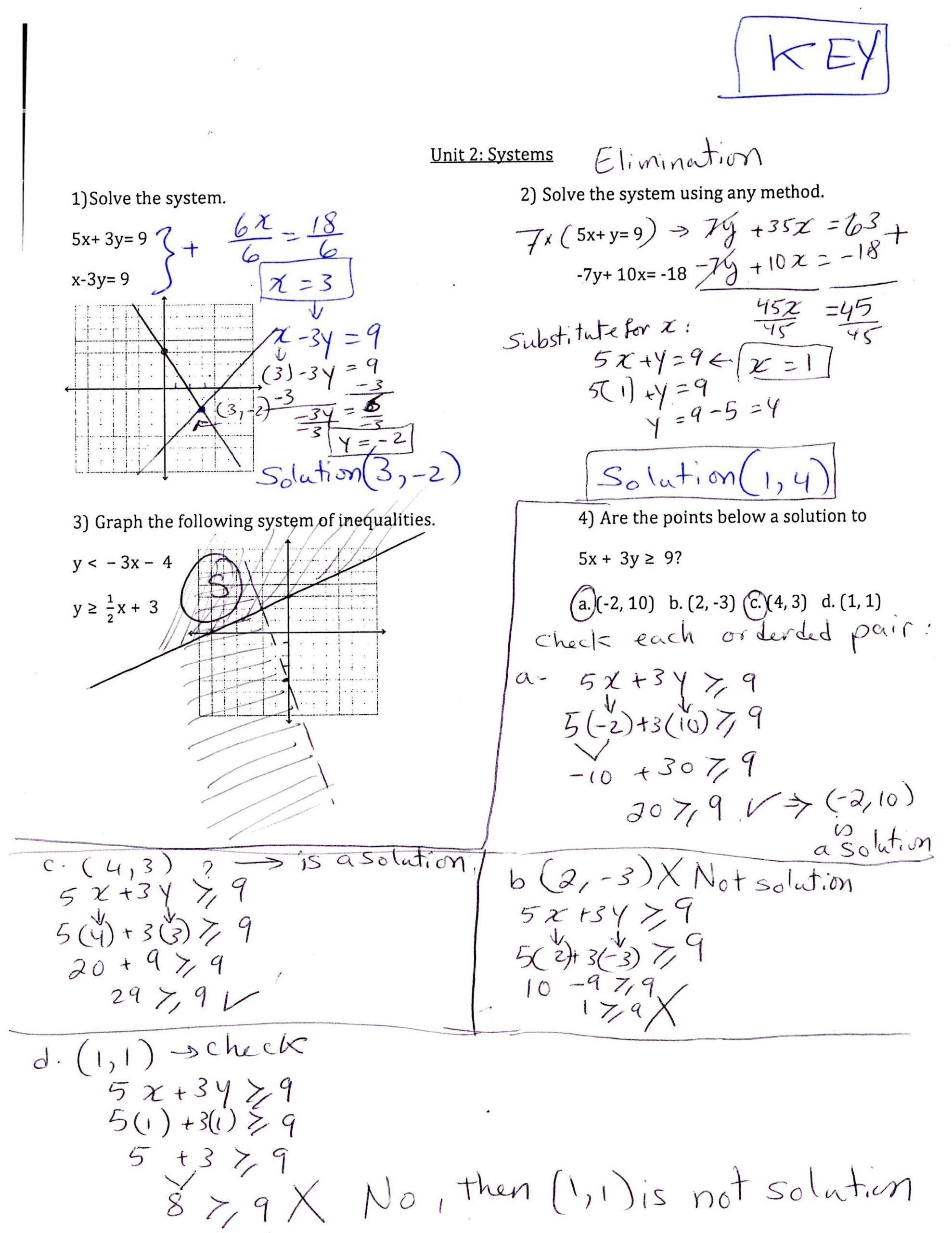 Algebra 2 Review Worksheet Review Systems Worksheet Answer