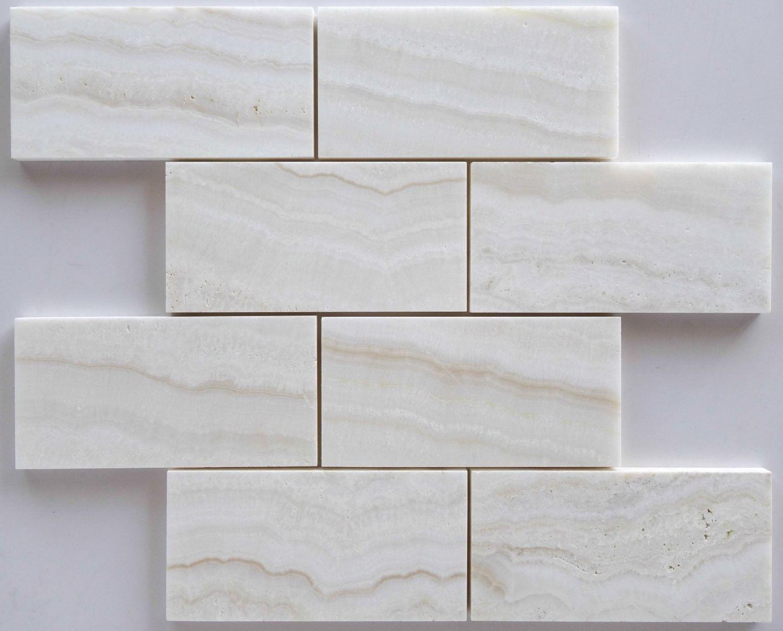 White Onyx Tile Premium Vein Cut 3 X 6 Subway Brick Polished