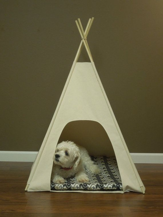Medium Pet Teepee/Tent-29 base Natural by VintageKandyLiving & Medium Dog Teepee/Tent-29