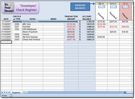 Free Dave ramsey Excel Spreadsheet to use as an \u0027Envelopes\u0027 Check - free spreadsheet software