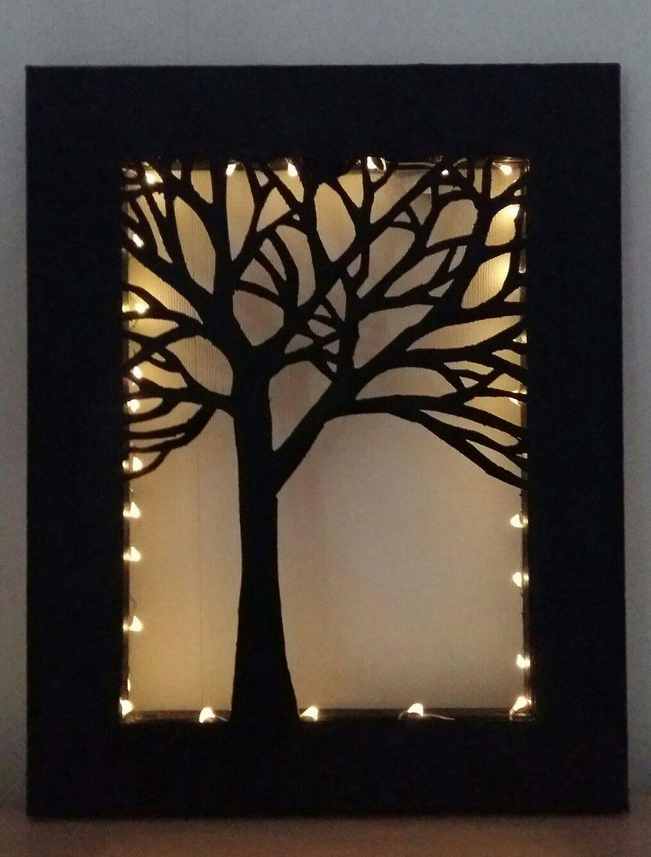 Baum Scherenschnitt Leinwand Mit Integrierter Lichterkette