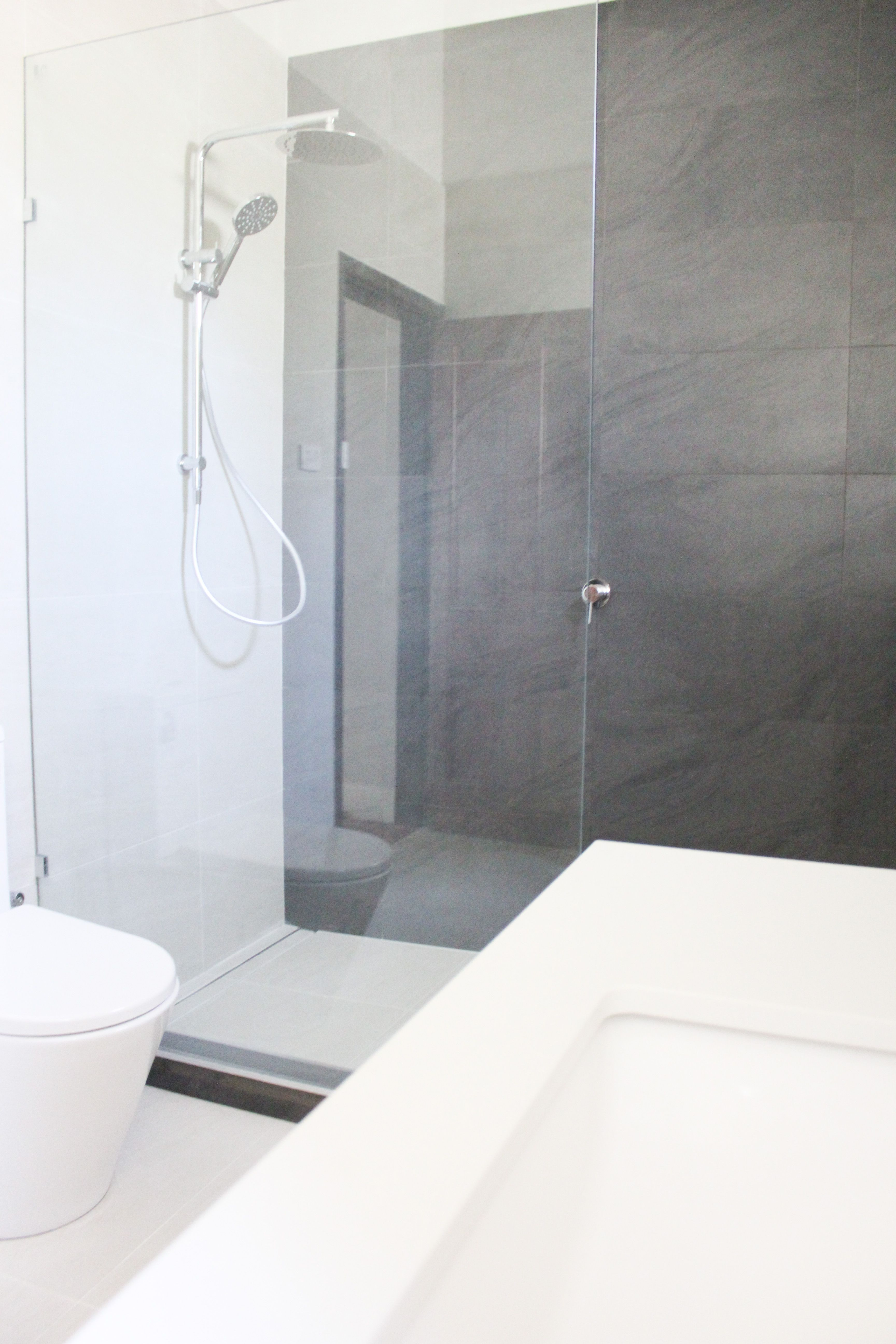 Walk In Shower Hob Matching Feature Wall On The Ball Bathrooms