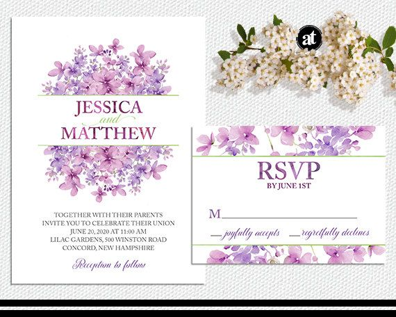 Printable Wedding Invitations Kits: Lilac Floral Wedding Invitation Kit Or Printable By
