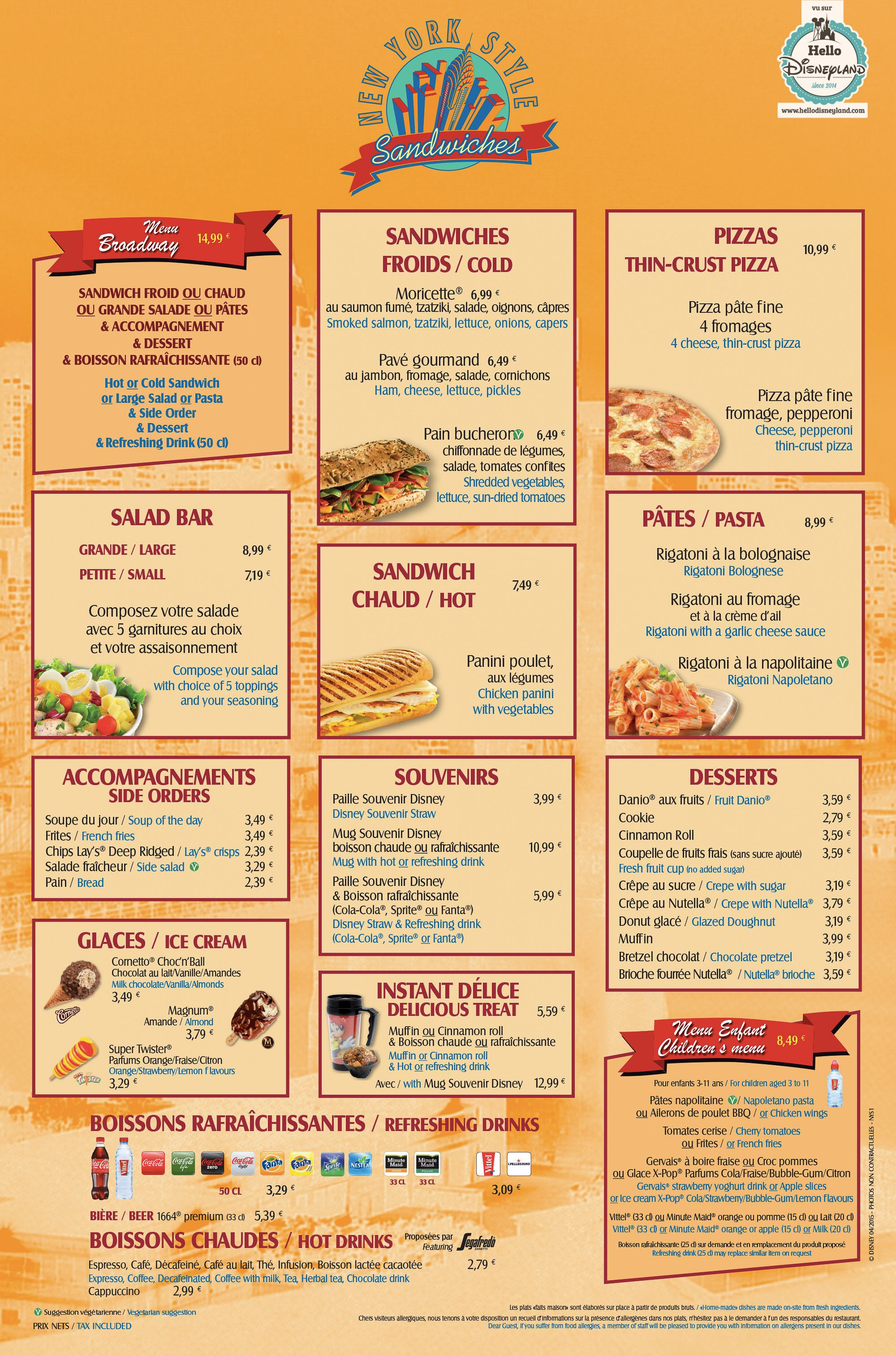 menus restaurants disneyland 2015 - Yellow Restaurant 2015