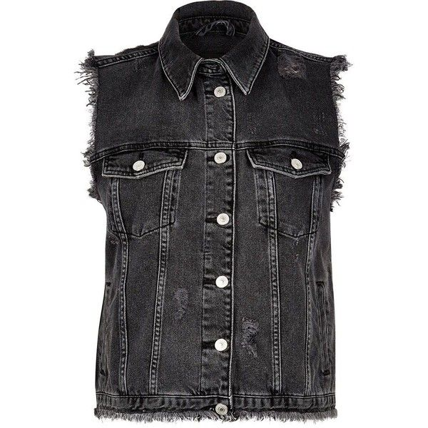256e406e58 River Island Black sleeveless denim jacket ($58) ❤ liked on Polyvore  featuring outerwear, jackets, black, gilets, no sleeve jacket, button up  jacket, ...