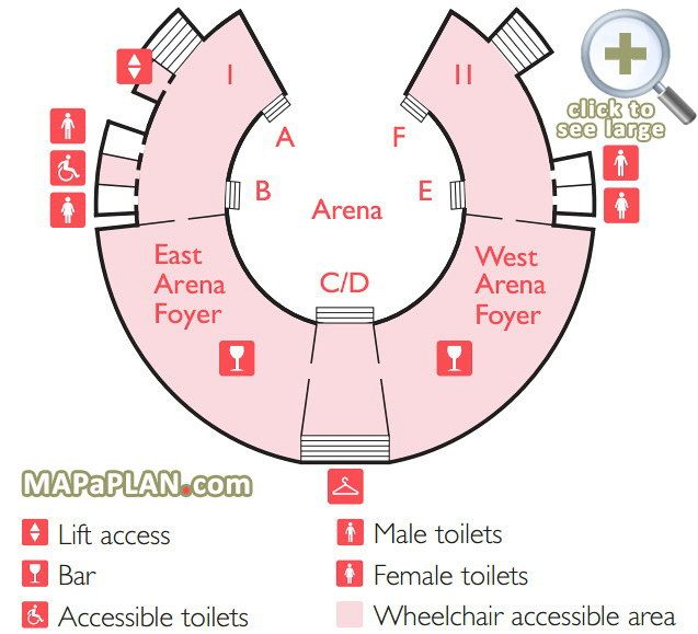 Foyer Seating View : Arena foyers basement level wheelchair access map royal