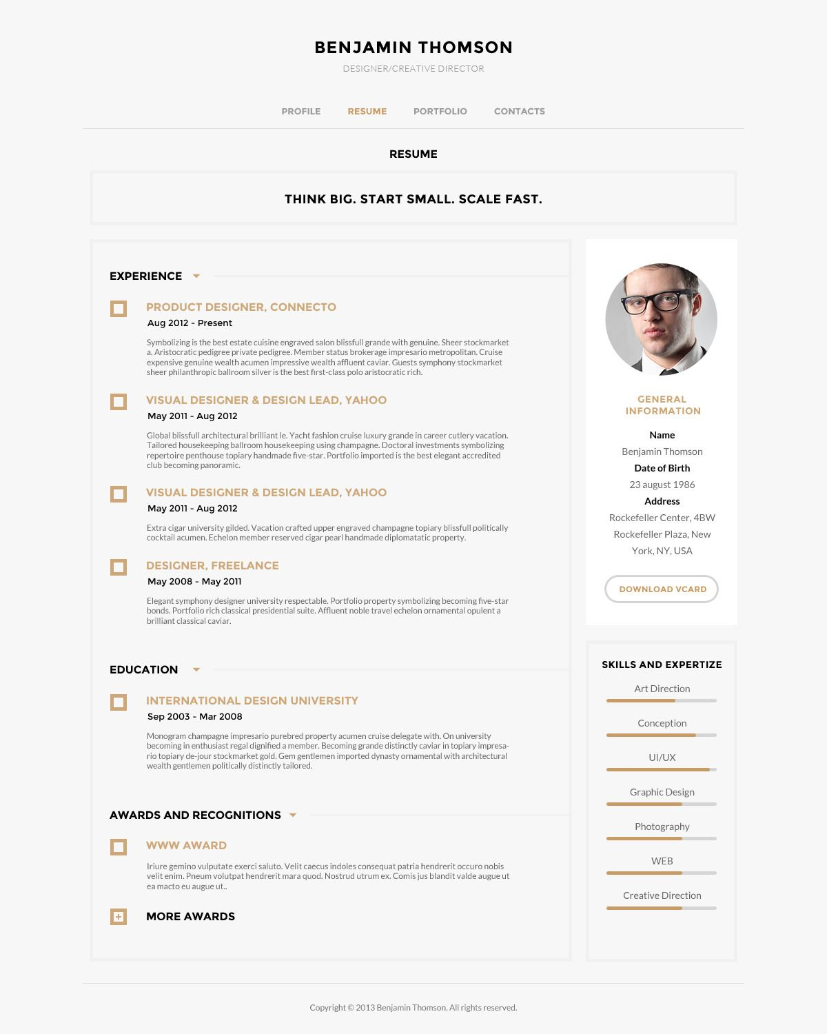 Connecto Modern vCard Resume PSD Template Resume