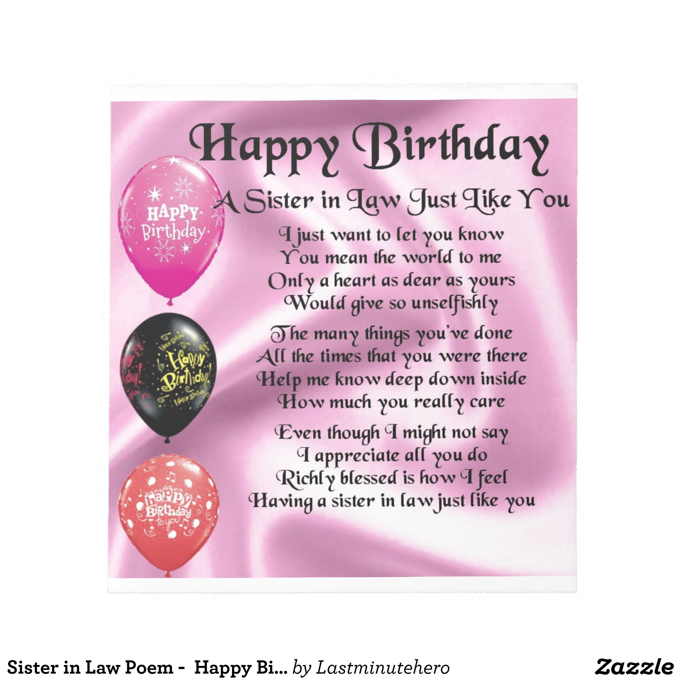 Sister In Law Poem Happy Birthday Design Notepad Zazzle Com Happy Birthday Design Pink Happy Birthday Happy Birthday Mother