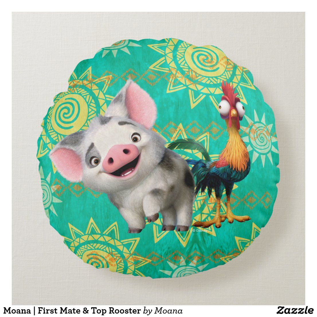 Moana | First Mate & Top Rooster Round Pillow | Zazzle.com