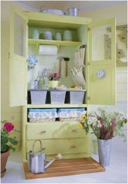 Repurposed TV Cabinet Armoire Into Garden Shed, Craft Supply Storage  Closet! Great Idea For Those Old Style TV Cabinets You Can Find In EVERY  Thrift Shop ...