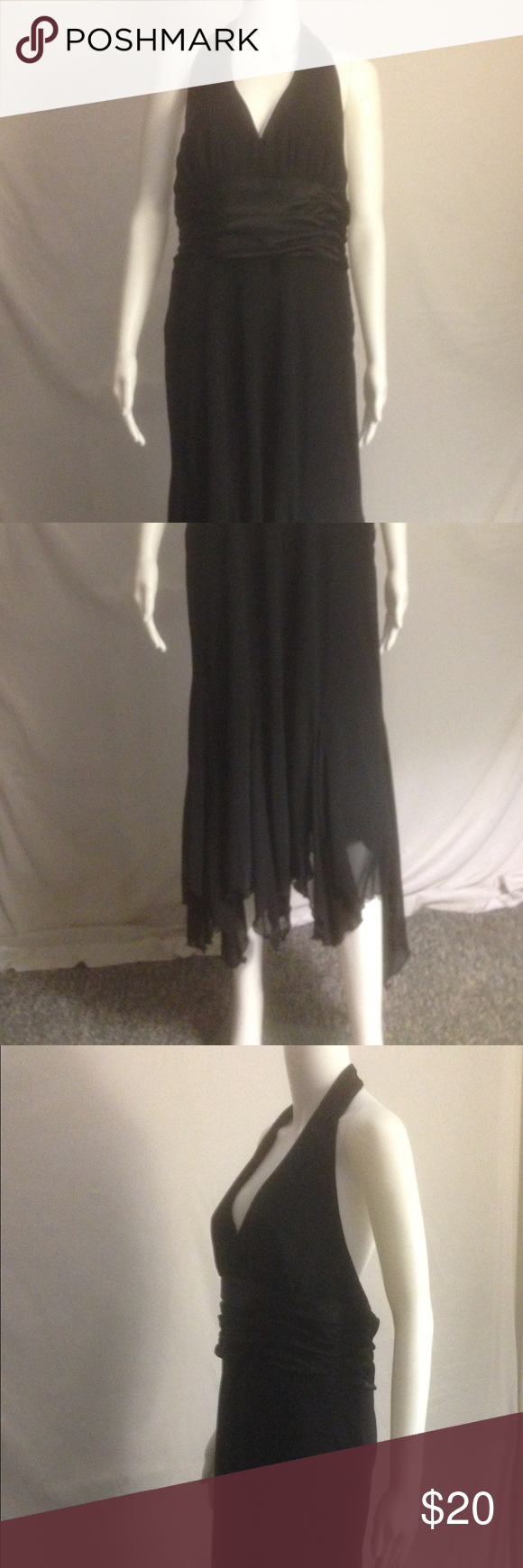 """Gorgeous Dress! Excellent, like-new condition.  This is a beautiful black dress that would be perfect for that special occasion.  It's sleeveless with a halter-style neck that is held together by two buttons and it has a zippered back.  It has an empire waist accented by a dash of black silky fabric and it also has a handkerchief hem that seems to float as you walk.  It's made of Poly and is Dry Clean.  The length varies from 44-49"""" due to the hem style and it's a Size: 14. S. L. Fashions…"""