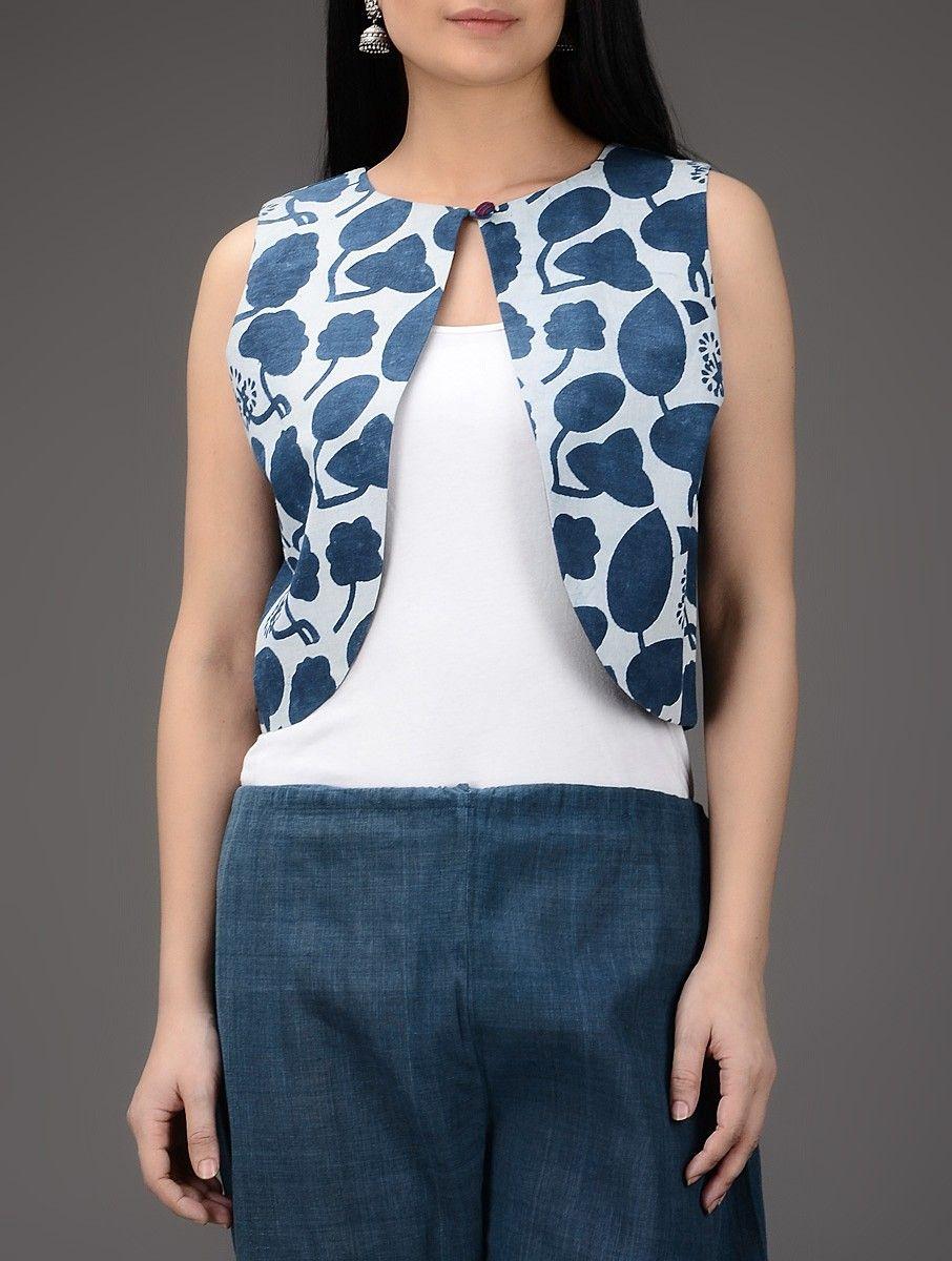 Buy Indigo White Dabu Printed Cotton Jacket Online Desi Pride
