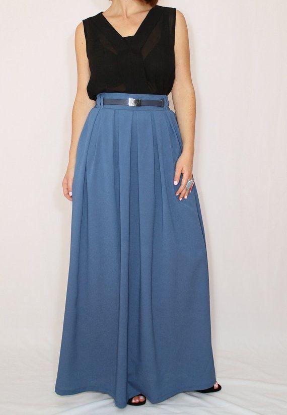 e35cf3271adf Blue grey skirt Women Chiffon maxi skirt High waisted maxi skirt with  pockets