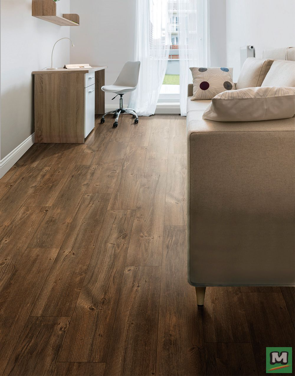 Tarkett® Bravado Oak Suede Laminate Flooring features