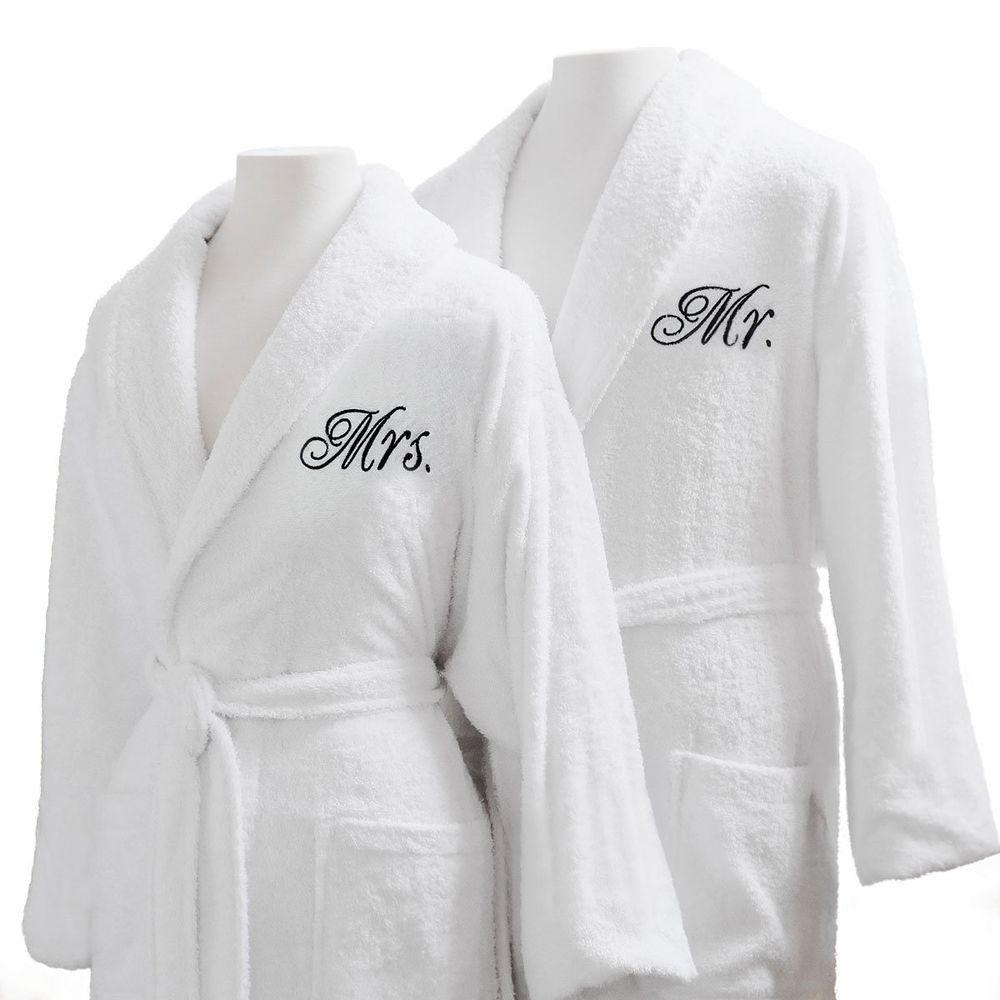 Couple Bathrobes Set Mr Mrs Married Honeymoon Soft Durable Pool Spa Bath  Robes  CoupleBathrobesSet  MrAndMrs 277c13b97