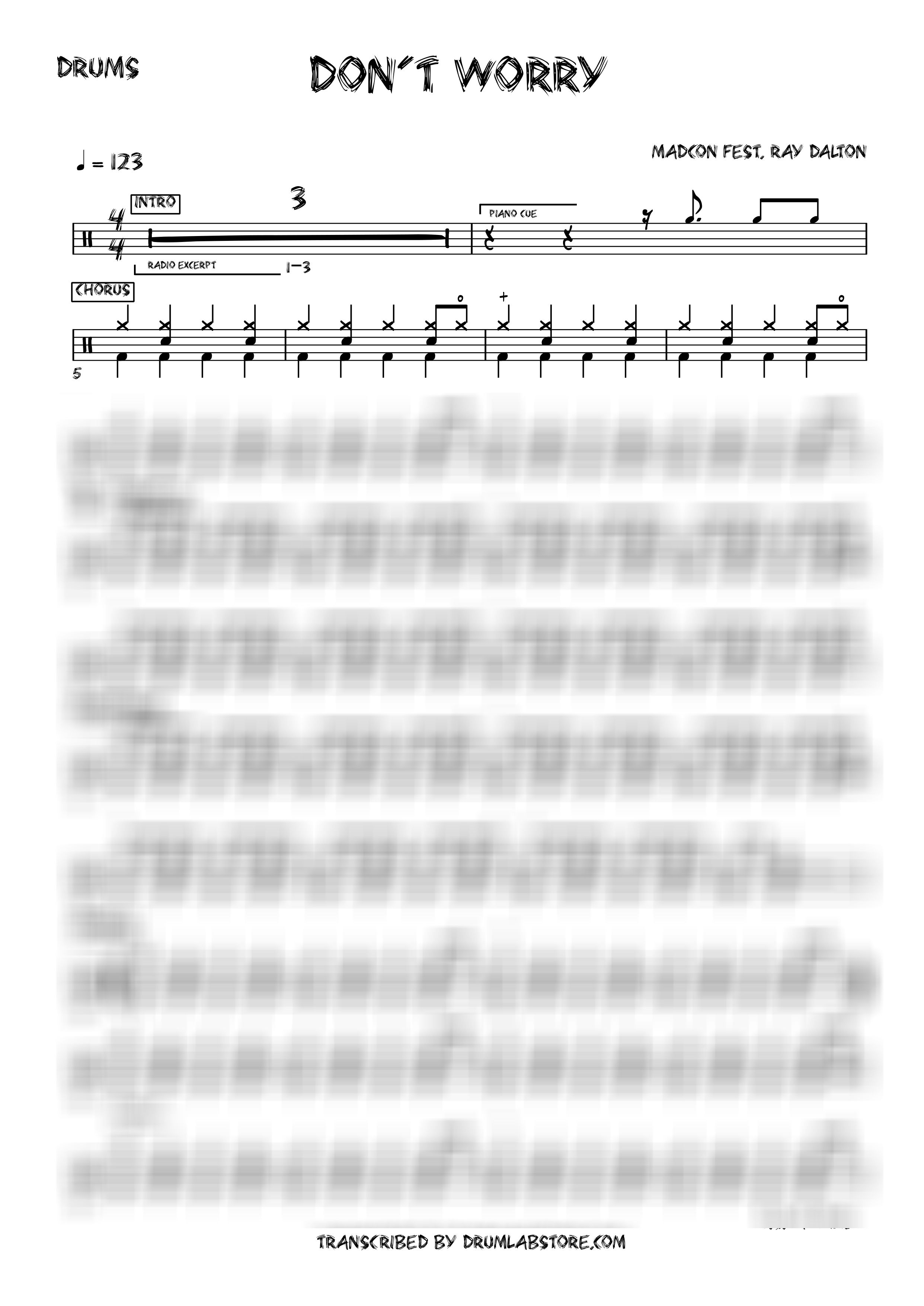 Madcon Don t worry DRUM SHEET MUSIC