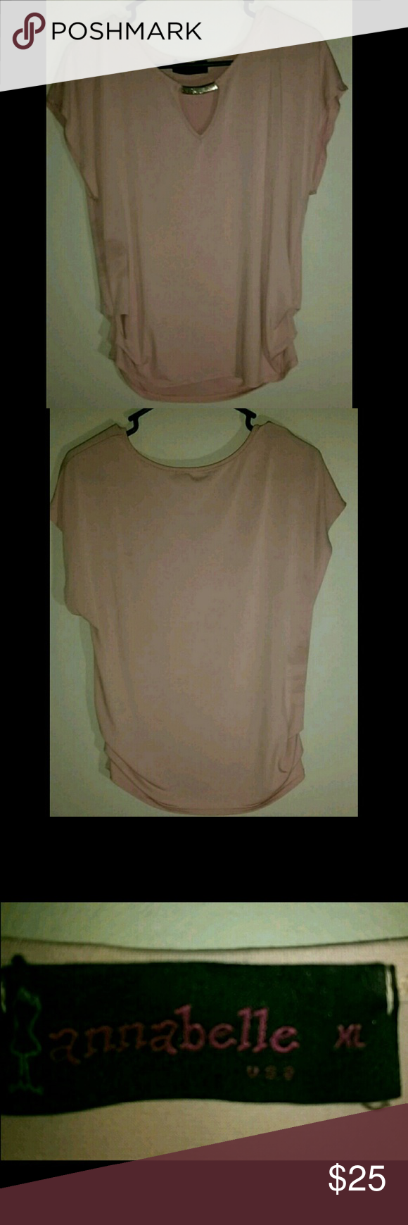 Annabelle Shirt Beautiful #annabelle pale pink shirt, with a dainty gold accent near the neck. Annabelle Tops Blouses