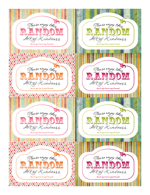 graphic regarding Kindness Cards Printable named Free of charge Printable Random Act of Kindness playing cards Random Functions of