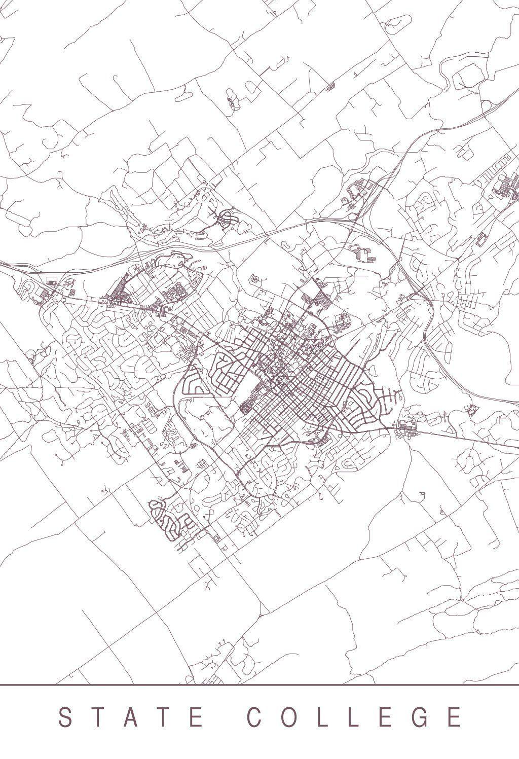 Karte Map State College Pennsylvania Vereinigte Staaten Von
