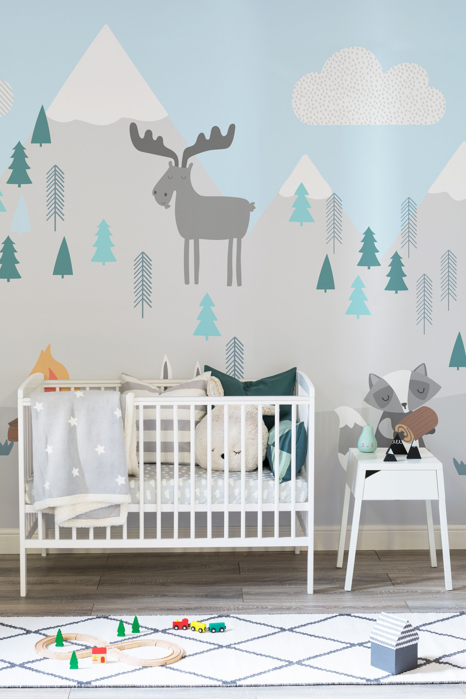 Kids mountain scene wall mural best pastel mint snowy for Baby boy bedroom ideas uk
