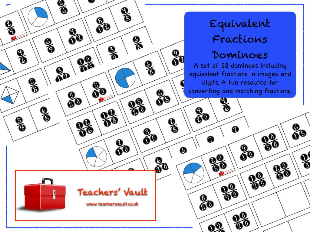 Equivalent Fractions Dominoes | Equivalent fractions, Ks3 maths and ...