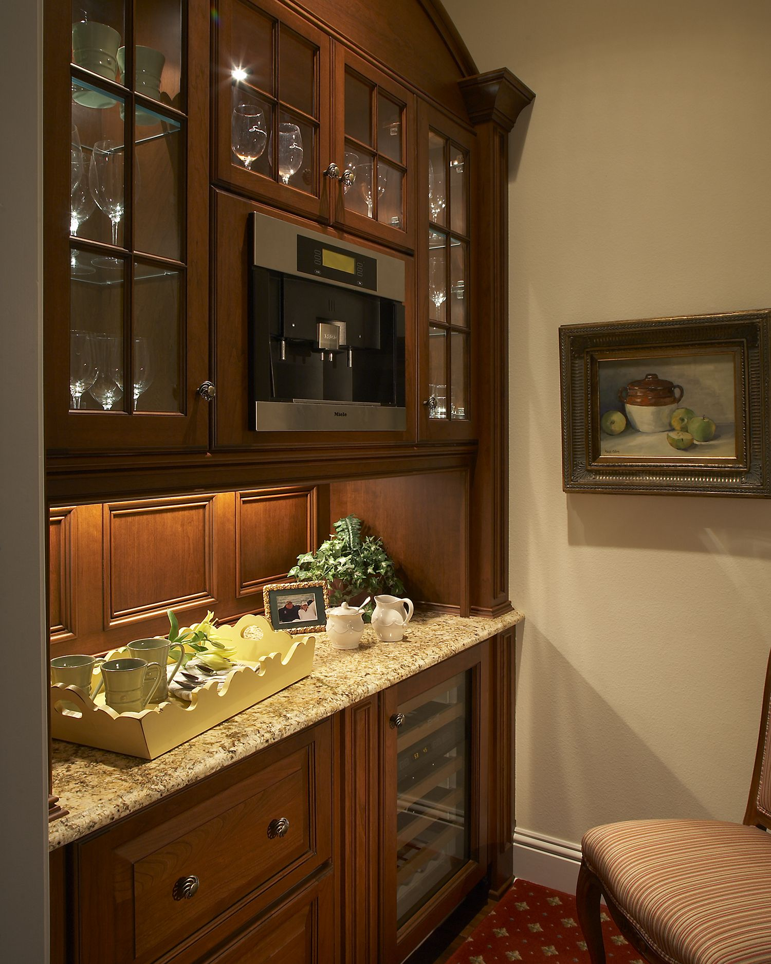 Whether fancy or informal, this space offers a busy family many options, from butler's pantry to morning breakfast bar.