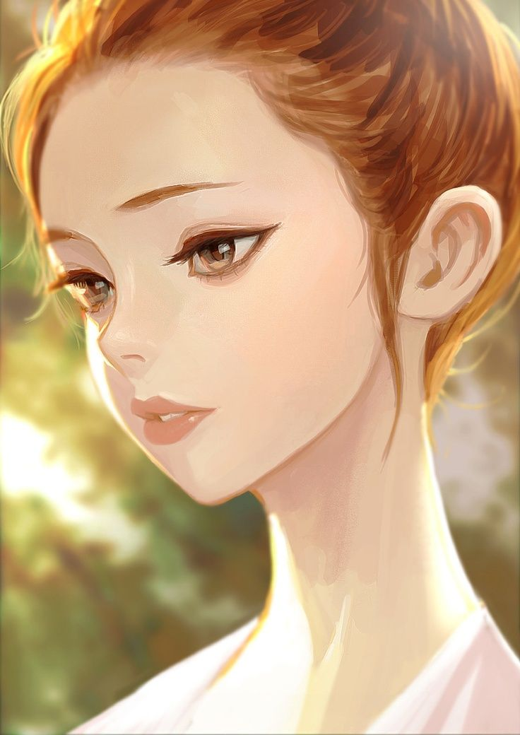 Anime Art Pretty Girl Thoughtful Hair Pulled Back