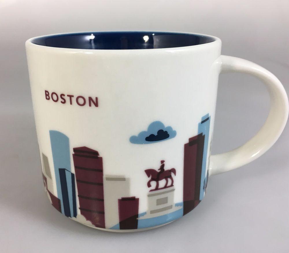 f721eab3328 Starbucks Boston You Are Here Coffee Mug Cup 14 oz YAH Collection 2014 # Starbucks