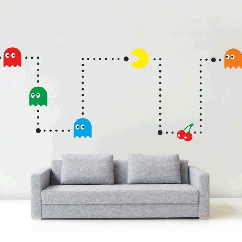 Pacman Wall Art Sticker Kit Vinyl Kids Retro Games Room Etsy Sticker Wall Art Retro Games Room Sticker Art