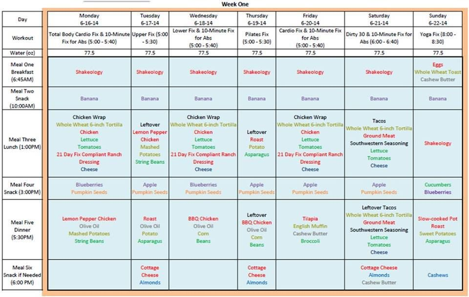 21-Day Fix Meal Plans 21 Day Fix Pinterest Meals