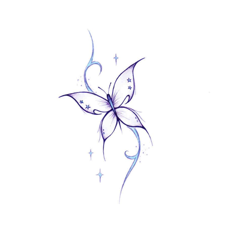 Small Butterfly Star Tattoo Tattoos Butterfly Tattoos For Women