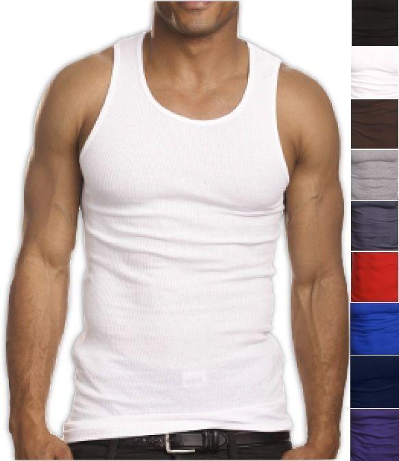 White Premium Men/'s 100/% Cotton Tank Top A-Shirt Wife-Beater Undershirt Ribbed