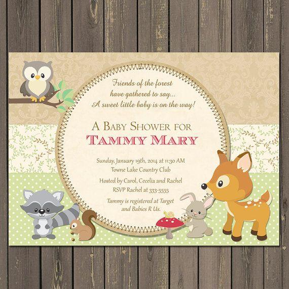Woodland Baby Shower Invitation, Forest Animals Baby Shower Invitation, Woodland  Animal Invitation, Gender