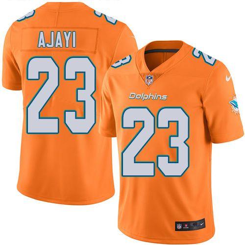 ddd632de Men's Nike Miami Dolphins #23 Jay Ajayi Elite Orange Rush NFL Jersey ...