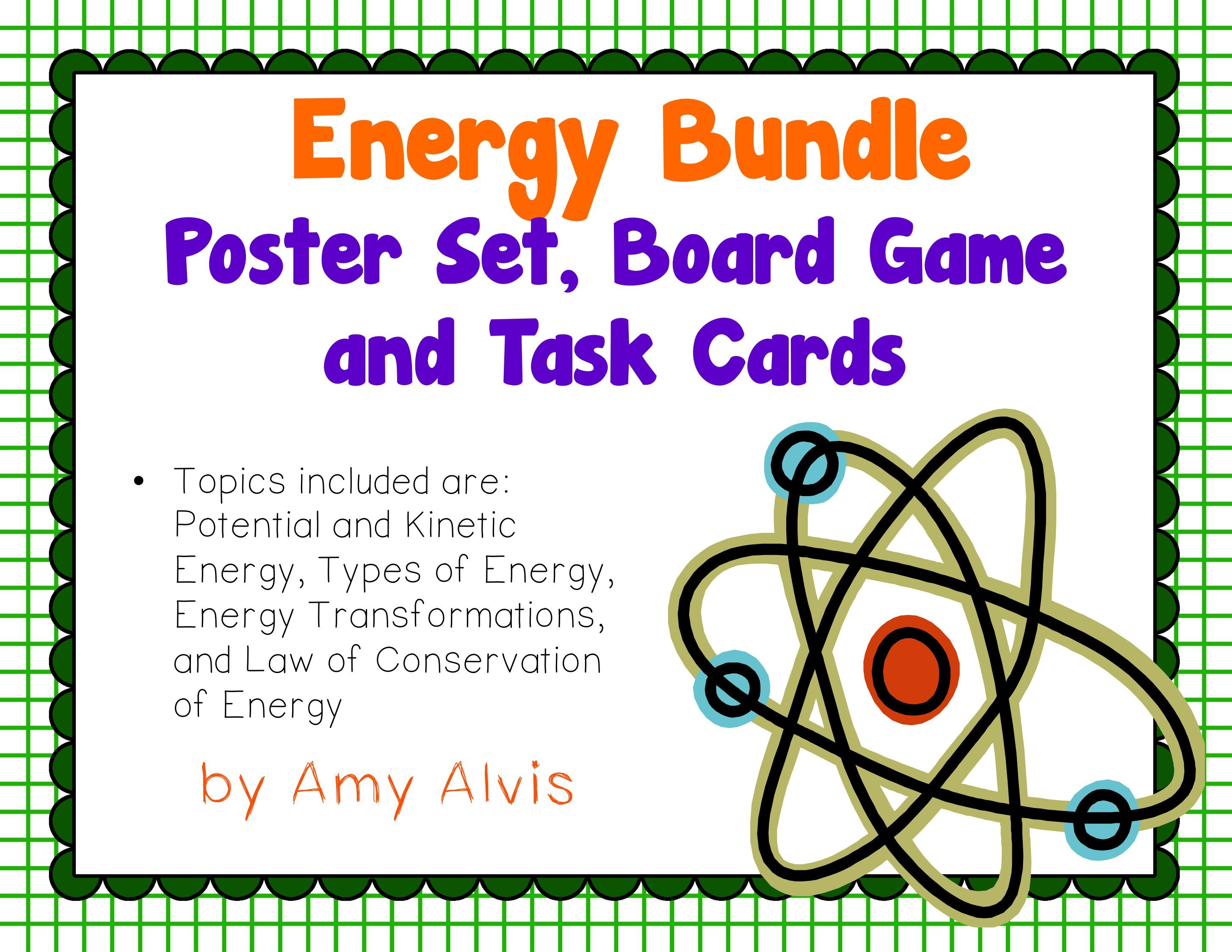 Energy Bundle Posters Interactive Notebook Inb Task Cards Game Science