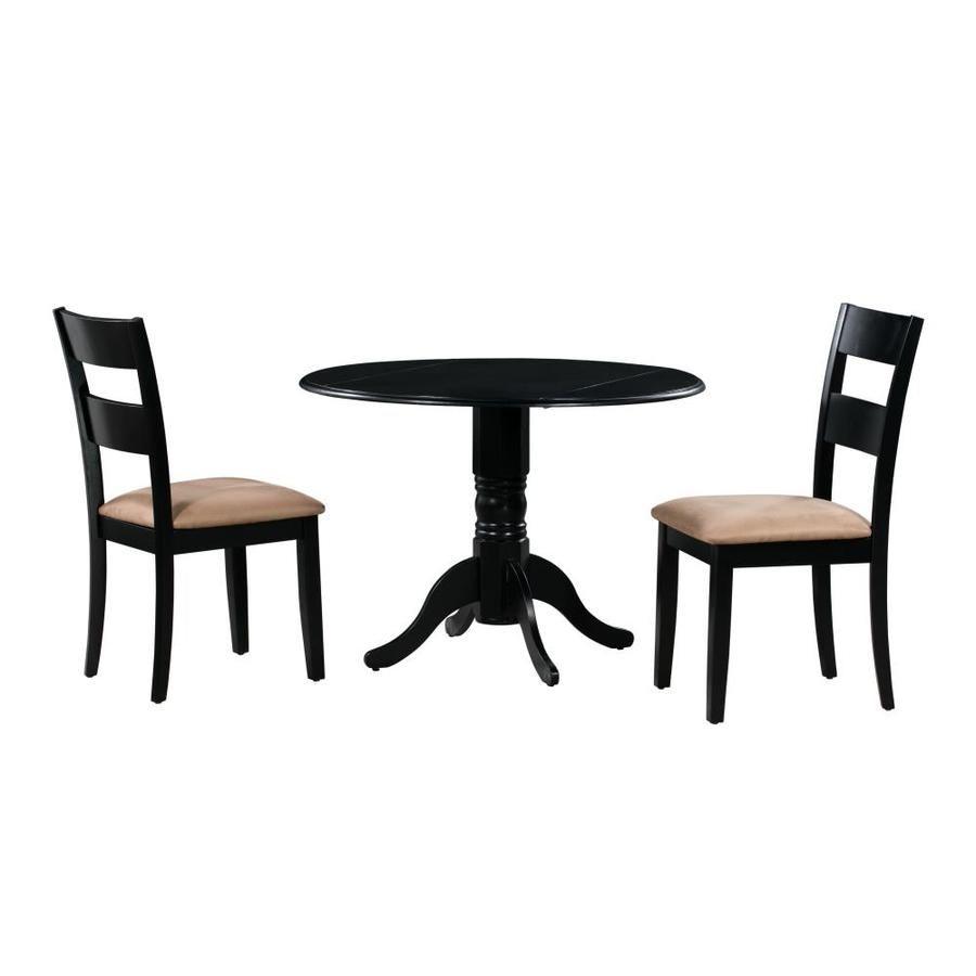 M D Furniture Burlington Black Dining Room Set With Round Table Lowes Com Solid Wood Dining Set Black Dining Room Sets Solid Wood Table Tops 3 piece dining set under 100