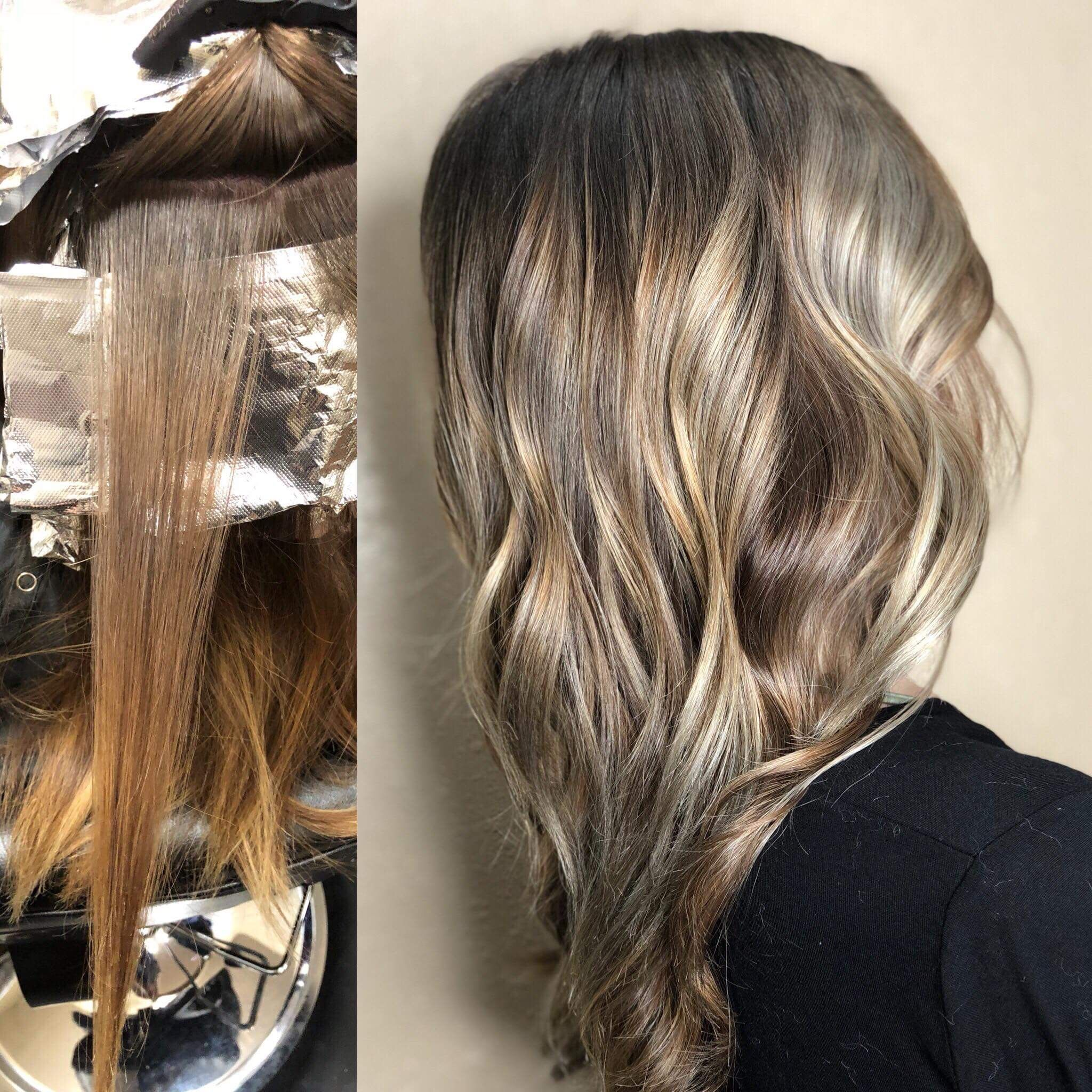 Blonde Balayage Toned Ash Brown With A Root Fade Before And After