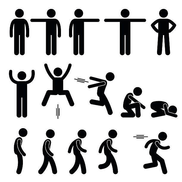 Human Action Poses Postures Stick Figure Pictogram Icons Vector Art Illustration Stick Figure Drawing Stick Figures Stick Men Drawings