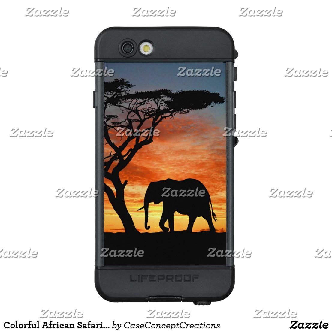 Colorful african safari sunset elephant silhouette