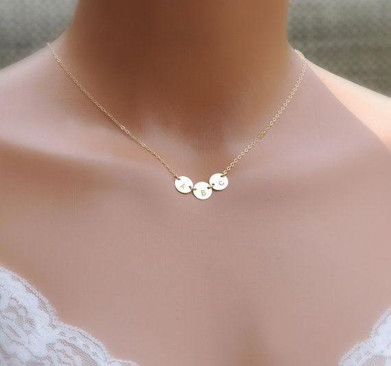 Family Initials Necklace Dainty Initials Layered Necklace Mini Hearts Necklace with Engraved Initials Mother/'s Jewelry